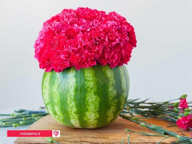 عکس تزیین هندوانه با گل