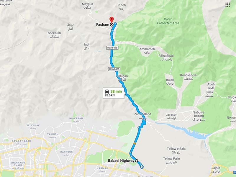 نمایش تصویری مسیر منطقی قطعه اول بزرگراه تهران شمال