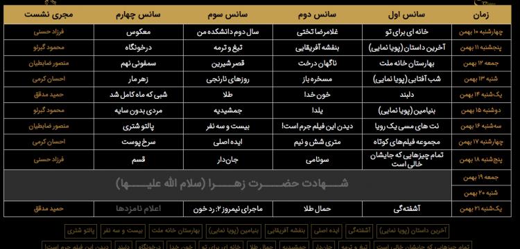 جدول اکران سینمای رسانه